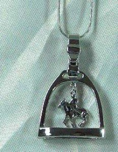 Exselle Platinum Plated Polo Stirrup Necklace