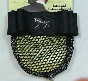 1 1/2'' Black Ribbon Bow & Net with Nickel Plated Dressage Horse