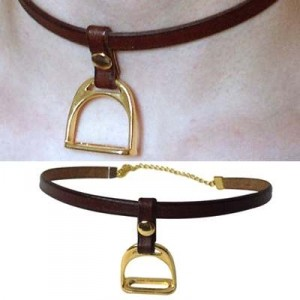 Exselle Leather Thong Choker with Stirrup Pendant