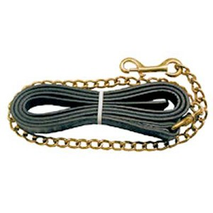 "Leather Lead with 30"" Brass Chain"