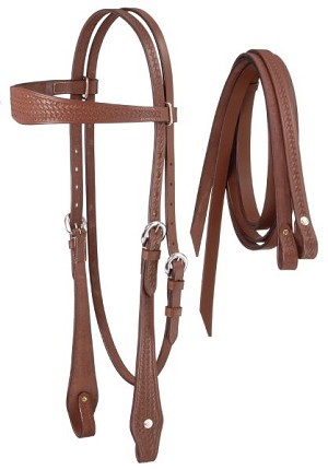Royal King Basketweave Tooled Browband Headstall with Reins