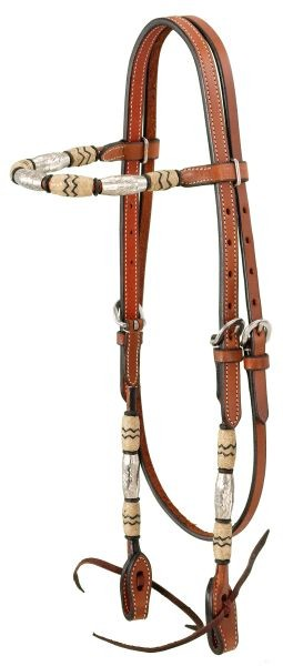 Royal King Premium Cowhide Rawhide and Silver Straight Brow Headstall