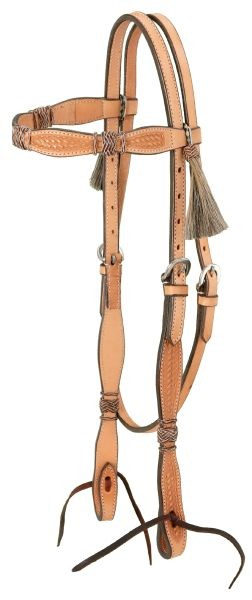 Royal King Premium Cowhide Rawhide and Horsehair Tassel Straight Brow Headstall