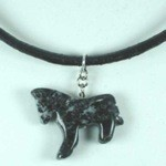 Exselle Stone Pony Pendant on Leather Cord