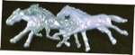 Exselle Platinum Plated Three Horse Stock Pin