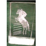Jumping Horse Crystal Etched Weight