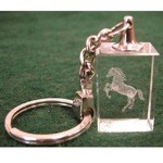 Rearing Horse Etching on Crystal Key Chain