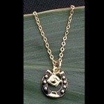 Exselle Gold Plated Enamled Horseshoe & Head Pendant