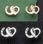 Exselle Platinum Plated Horseshoe with Heart Earrings
