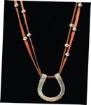 Double Strand Horseshoe Necklace with Brown Suede Strands & Silver Beads