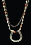 Double Strand Agate Bead Links & Chain Horseshoe Necklace