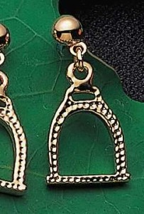 Exselle Gold Plated Textured English Stirrup Earrings