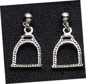 Exselle Platinum Plated Textured English Stirrup Earrings
