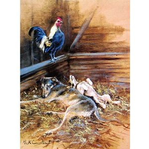 Early Morning Call Card 6 Pack (Lurcher, Jack Russell, Rooster)