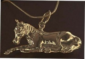 Exselle Platinum Plated Resting Foal Pendant