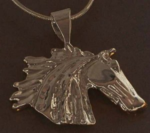 Exselle Gold Plated Wind Blown Horse Head Pendant