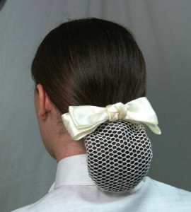1 1/2''  Ivory Satin Bow with knotted center & mesh net
