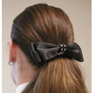 1 1/2'' Black Satin Bow with Rhinstone Banded Center