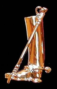 Exselle Gold Plated Boot Stock Pin with Rhinestone