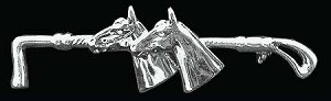 Exselle Platinum Plated Two Horseheads and Whip Stock Pin
