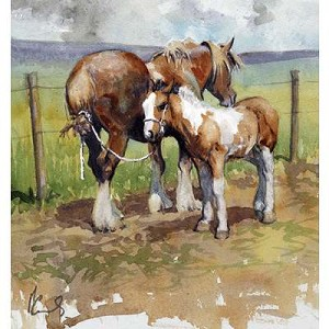 In Tow Print (Mare& Foal Draft Horses) by Malcom Coward