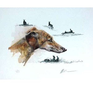 Lurcher and Hare Print