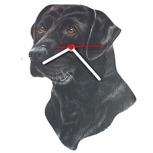 Black Lab Head Clock