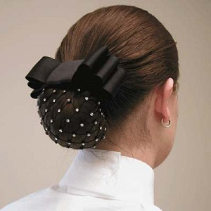 1 1/2'' Black Ribbon with Rhinestone Mesh Net