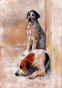 No Hunting Today Print (2 Dogs) by Debbie Gillingham