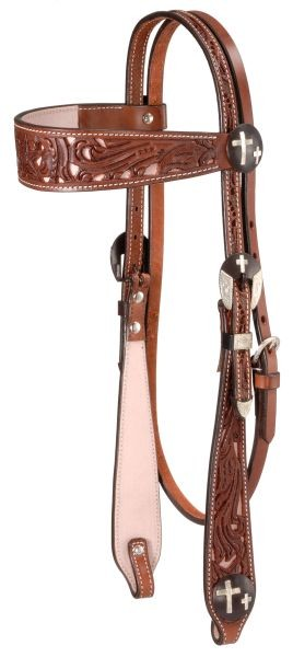 Royal King Filigree Crosses Concho Wide Brow Headstall