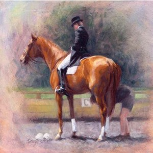 Final Adjustments Print (Dressage) by Sally Martin
