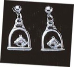 Exselle Platinum Plated Stirrups with Horsehead Earrings