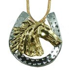 Exselle Wind Blown Arabian Horsehead in Horseshoe Pendant