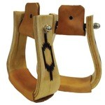 Wood Roping Stirrups with Brand