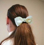 1 1/2'' Ivory Satin Bow with Rhinstone Banded Center