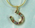 Exselle Gold Plated Horseshoe Necklace with Colored Crystals