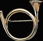 Exselle Gold Plated Hunting Horn Stock Pin