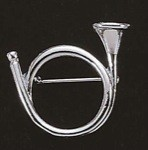 Exselle Platinum Plated Hunting Horn Stock Pin