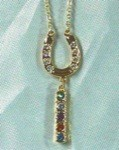 Exselle Gold Plated Horseshoe Necklace with Dangle and Colored Crystals