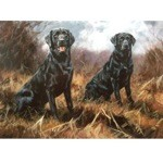 Awaiting Orders Card 6 Pack (Black Labradors)