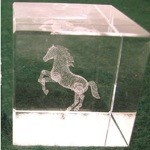 Large Rearing Horse Crystal Etched Weight