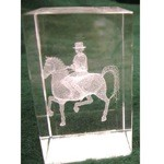 Dressage Horse Crystal Etched Weight