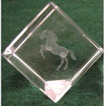 Rearing Horse Crystal Etched Weight