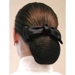 1 1/2'' Black Satin Bow with knotted center & mesh net