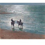 Paddling Print Large (Horses at The Sea) by Malcom Coward