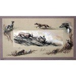 Lurchers Chasing Hare Print