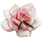 Pink Rose Shaped Clock