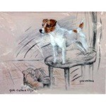 Terrier Standing on Chair Print (Jack Russell)