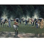 Stormy Weather Print ( Stormy Weather at Track) by Roy Miller