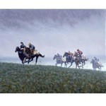 Out of The Gloom Print ( Horses on Turf) by Roy Miller